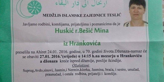 Na Ahiret preselila naša sestra Huskić ( r.Bešić ) Mina
