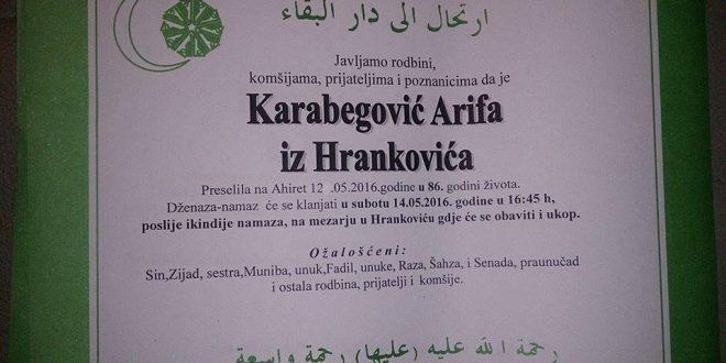 Na Ahiret preselila naša sestra Karabegović Arifa