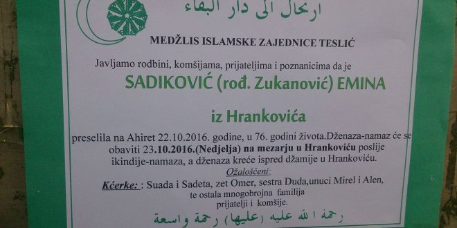 Na Ahiret preselila naša sestra Sadiković ( r. Zukanović ) Emina