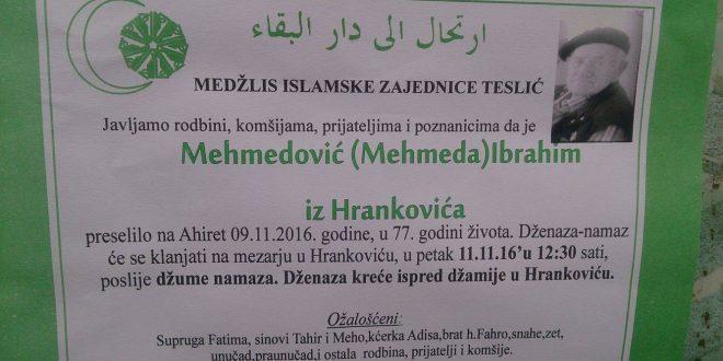 Na Ahiret preselio naš brat Mehmedović (Mehmeda) Ibrahim