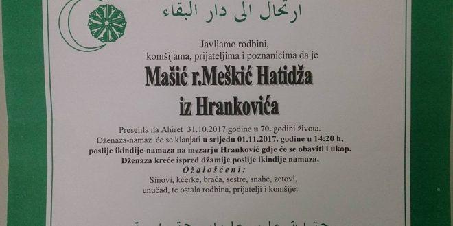 Na Ahiret je preselila naša sestra Mašić Hatidža iz Hrankovića