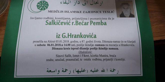 Na Ahiret je preselila naša sestra Salkičević (r.Bećar) Pemba iz Hrankovića