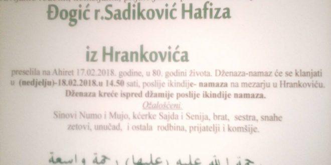 Na Ahiret je preselila naša sestra Đogić (r.Sadiković) Hafiza iz Hrankovića