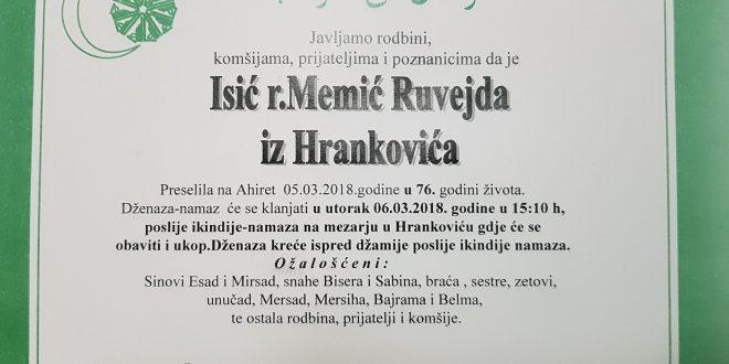 Na Ahiret je preselila naša sestra Isić (r.Memić) Ruvejda iz Hrankovića