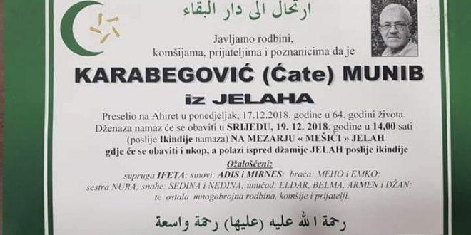 Na Ahiret je preselio naš brat Karabegović (Ćate) Munib