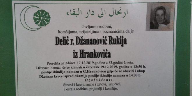 Na Ahiret je preselila naša sestra Rukija Delić iz Hrankovića !!