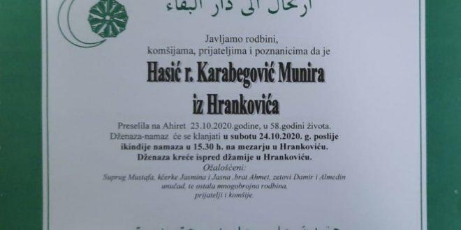 Na Ahiret je preselila naša sestra Hasić Munira iz Hrankovića
