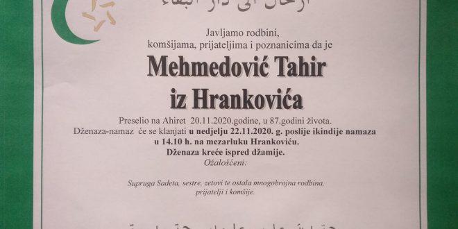 Na Ahiret je preselio naš brat Mehmedović Tahir